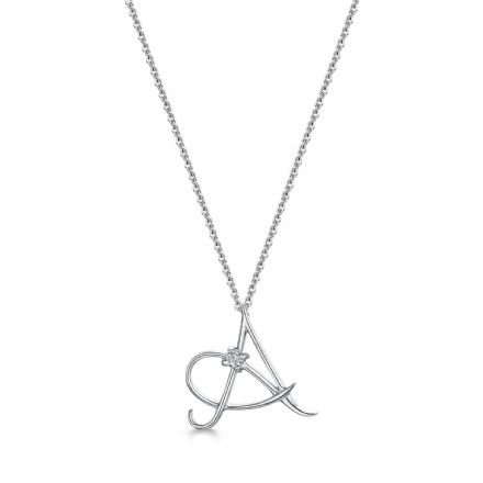 0.035ct 18 White Gold Initial pendant, 16 inch chain